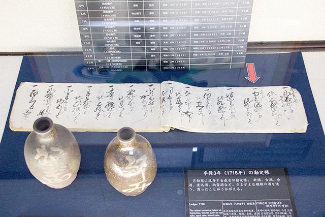 月桂冠に残る最古の「享保3年 勘定帳」