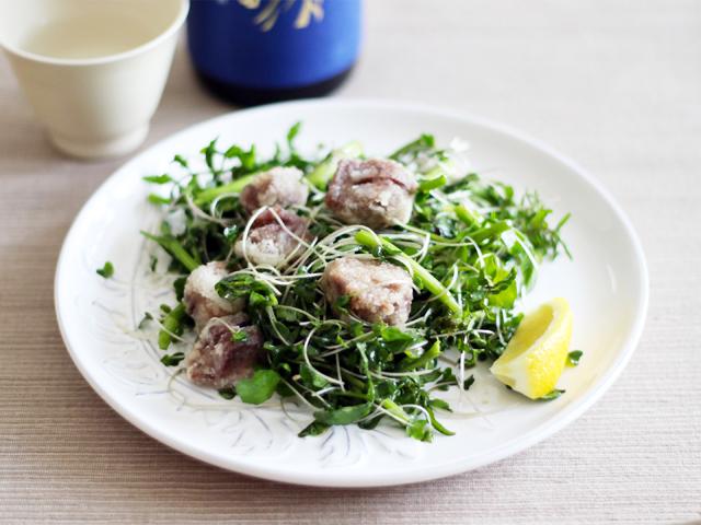 日本酒が飲みたくなる、粋なおつまみレシピ36 砂肝竜田揚げとクレソンのサラダ